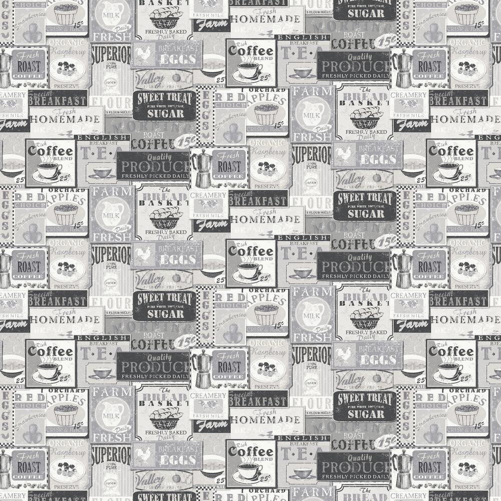 Enamel Signs Wallpaper - Silver / Grey - by Galerie