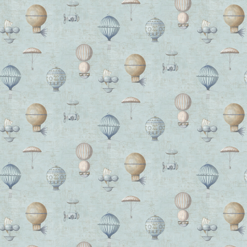 Air Ships Wallpaper - Blue - by Galerie