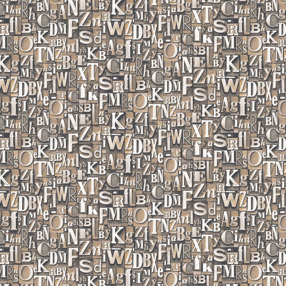 Block Letters Wallpaper - Bronze - by Galerie