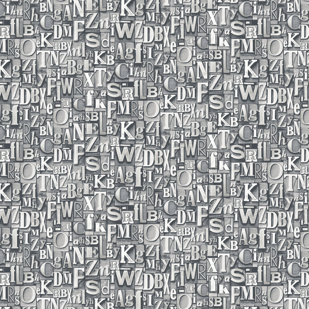 Block Letters Wallpaper - Silver Grey - by Galerie