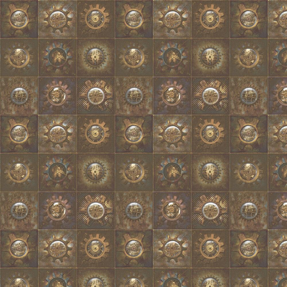 Industrial Tiles Wallpaper - Bronze - by Galerie