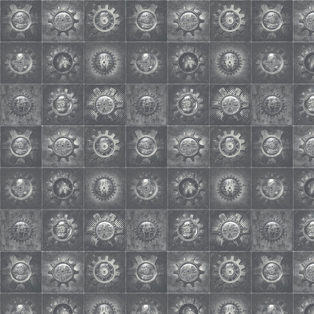 Industrial Tiles Wallpaper - Silver Grey - by Galerie