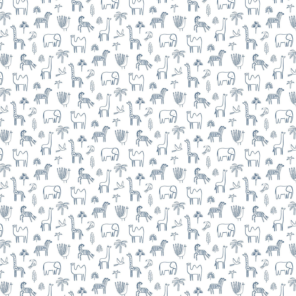 Funky Jungle Wallpaper - Navy - by Harlequin