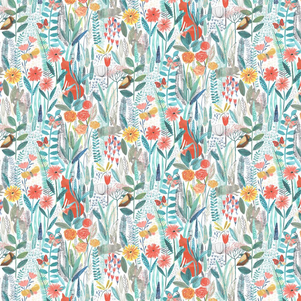 Hide And Seek Wallpaper - Poppy / Marine / Ochre  - by Harlequin
