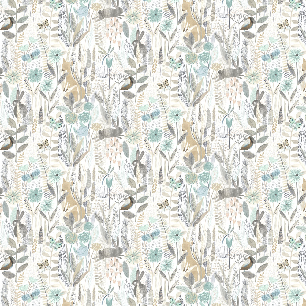 Hide And Seek Wallpaper - Linen / Duck Egg / Stone - by Harlequin