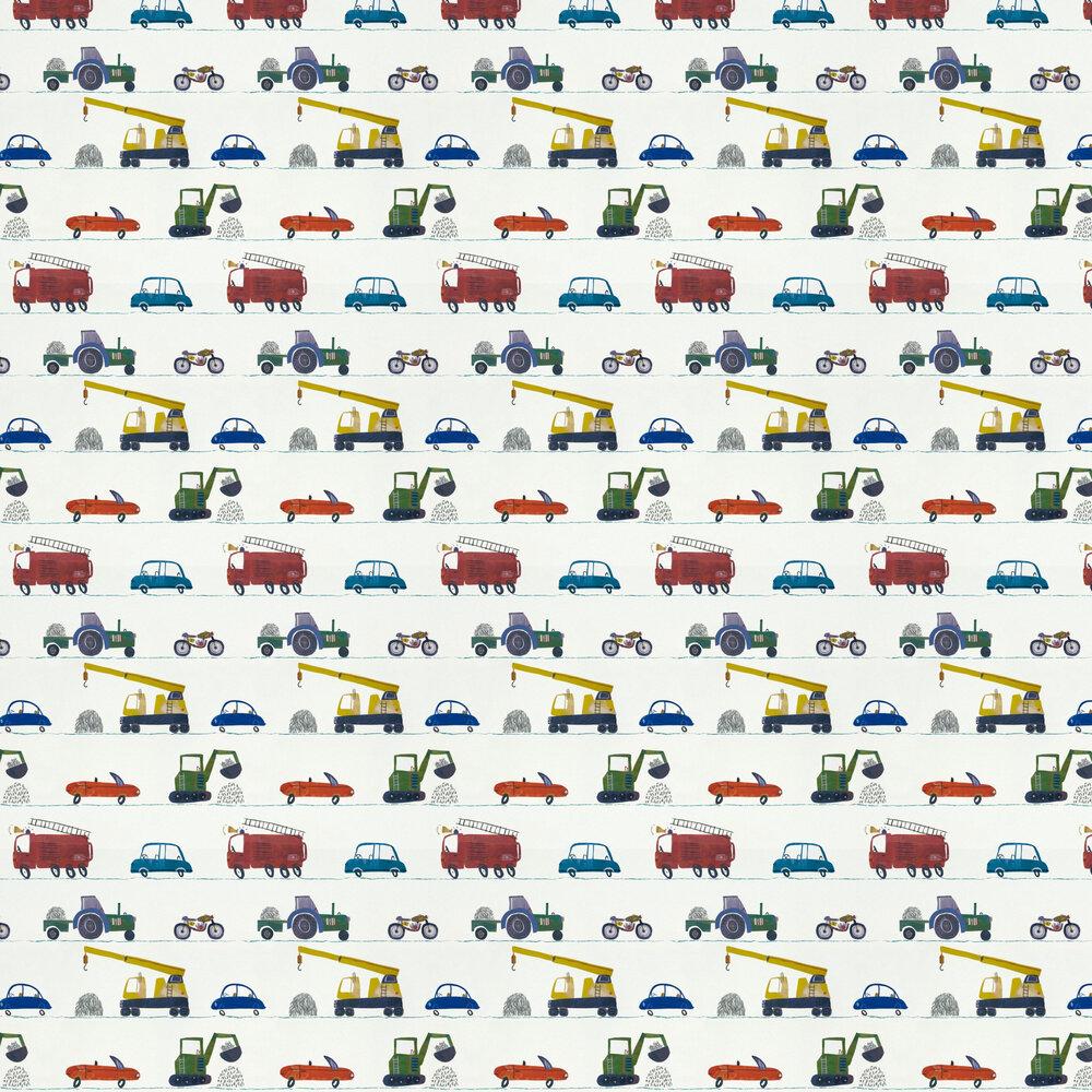 Just Keep Trucking Wallpaper - Tomato / Marine / Gecko - by Harlequin