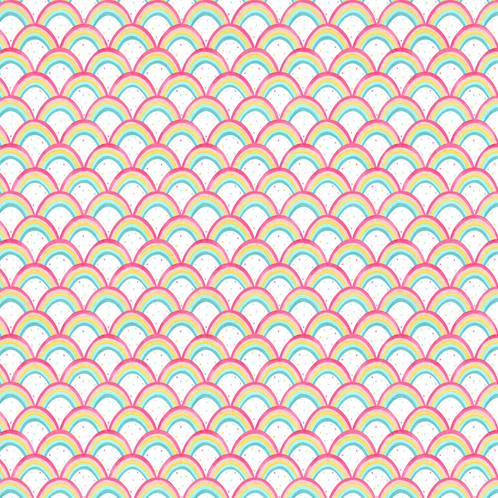 Rainbow Brights Wallpaper - Cherry / Blossom / Pineapple / Sky - by Harlequin