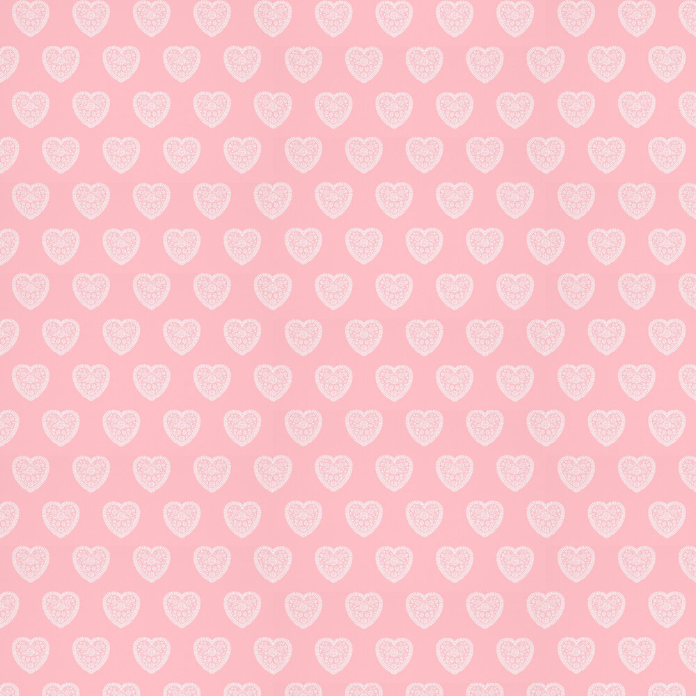 Sweet Hearts Wallpaper - Pink - by Harlequin