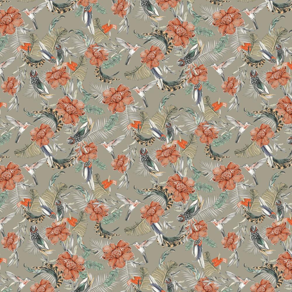 Lirica Wallpaper - Grey / Orange - by Tres Tintas