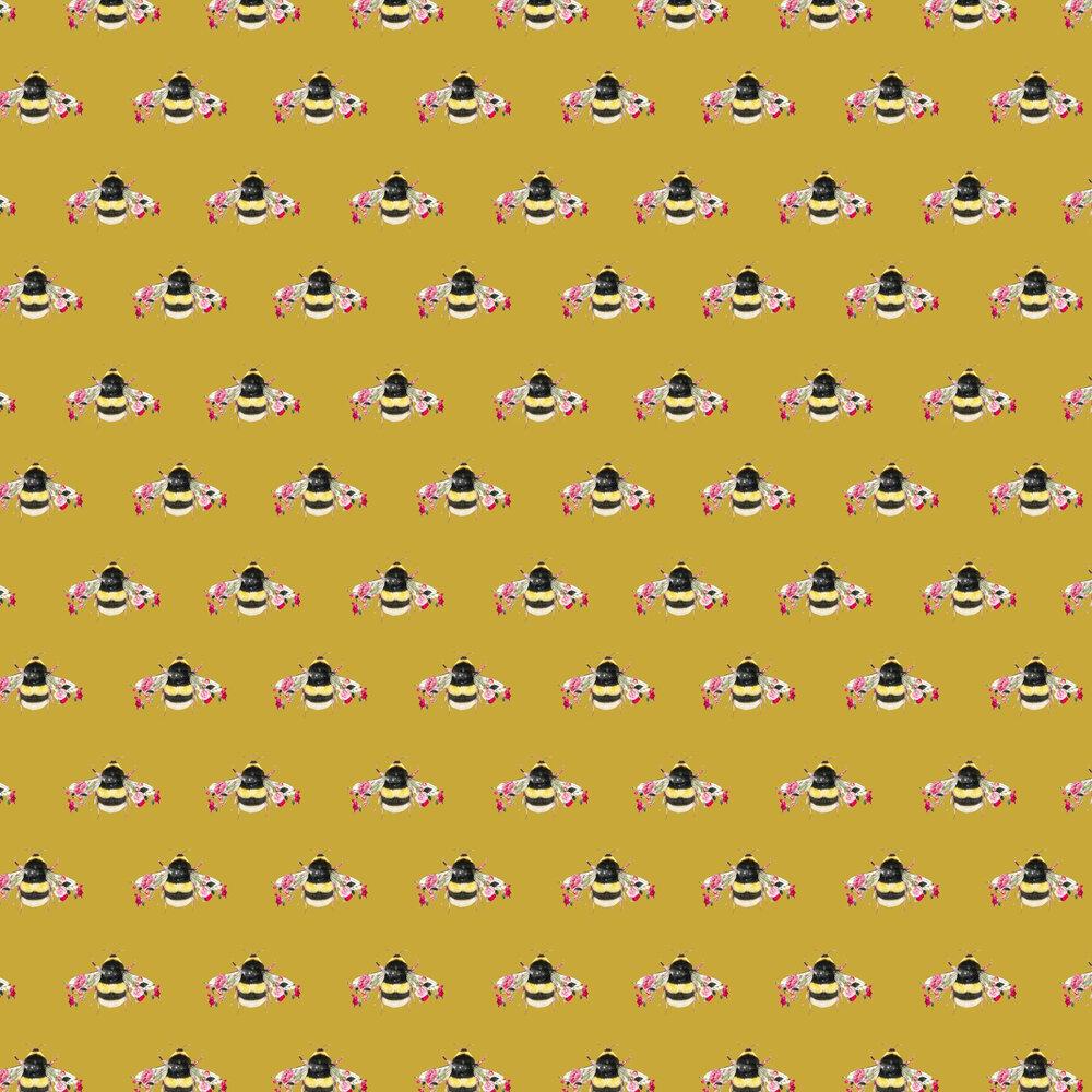 Single Bee Wallpaper - Mustard - by Lola Design
