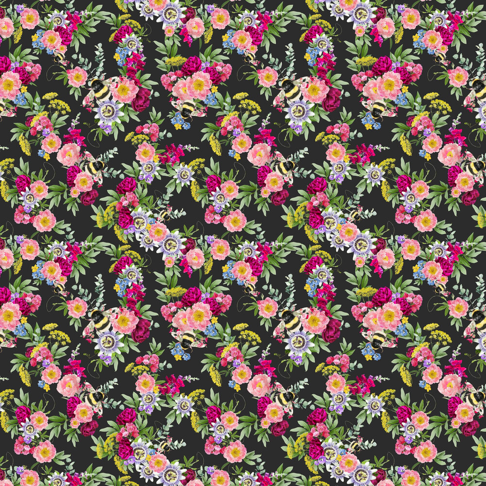 Mixed Bee Wallpaper - Black - by Lola Design