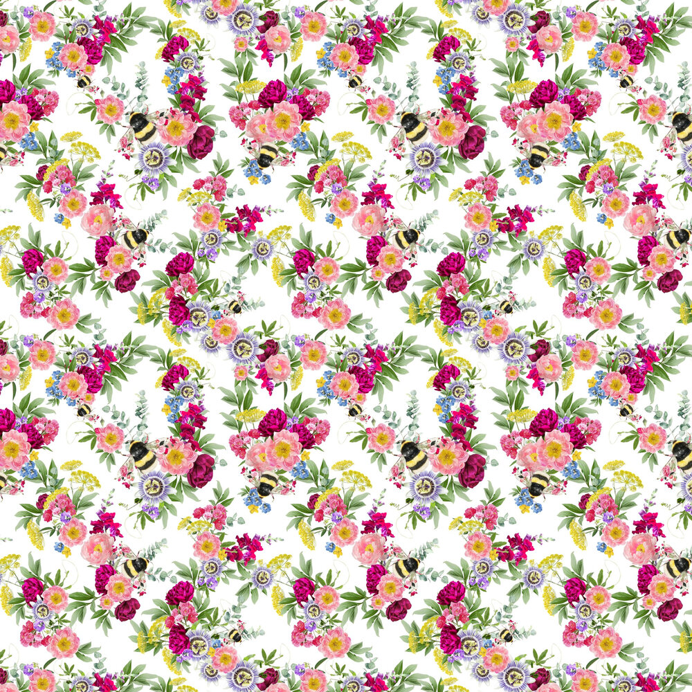 Mixed Bee Wallpaper - White - by Lola Design