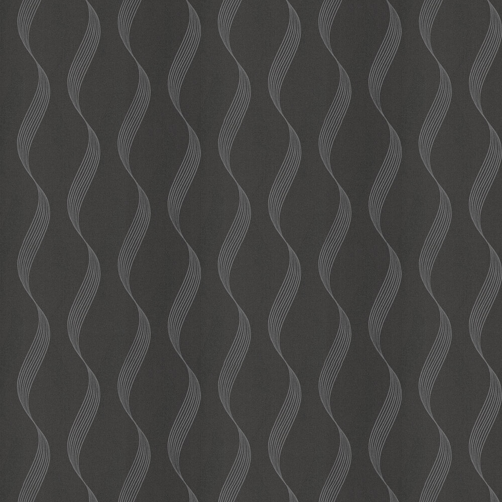Luxe Ribbon Wallpaper - Black / Silver - by Arthouse