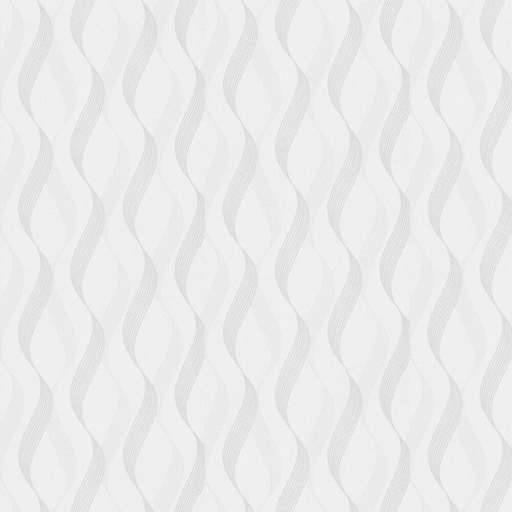 Luxe Ribbon Wallpaper - White / Silver - by Arthouse
