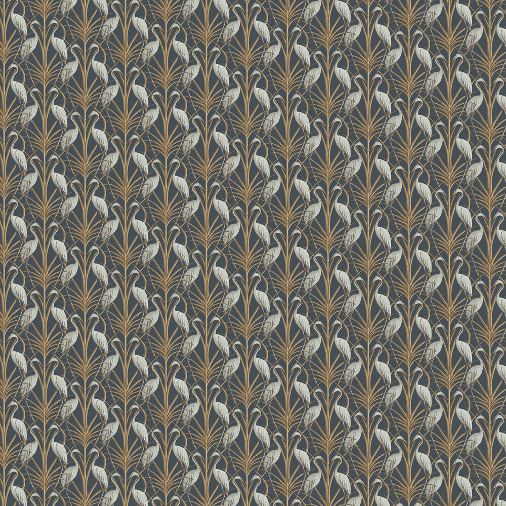Nouveau Heron Wallpaper - Navy - by The Chateau by Angel Strawbridge