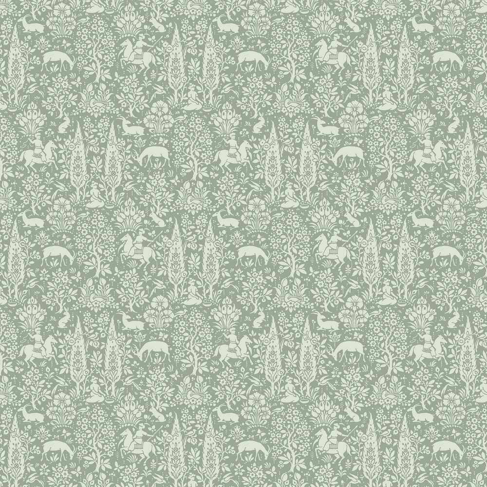 Woodland Wallpaper - Sage Green - by Crown