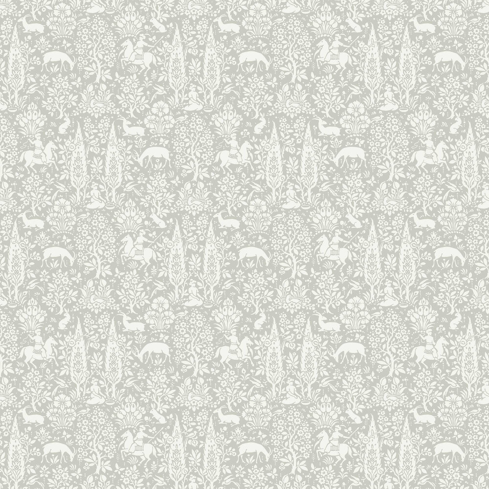 Woodland Wallpaper - Grey - by Crown