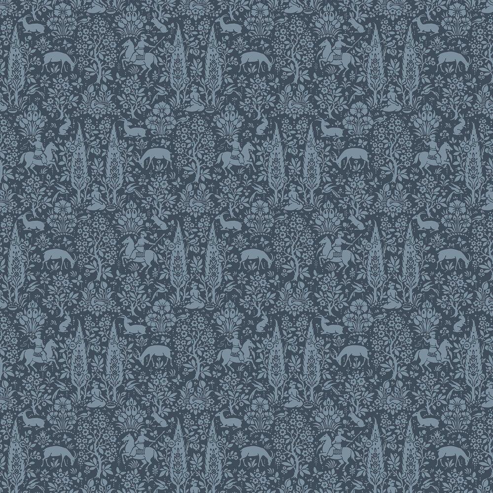 Woodland Wallpaper - Dark Blue - by Crown