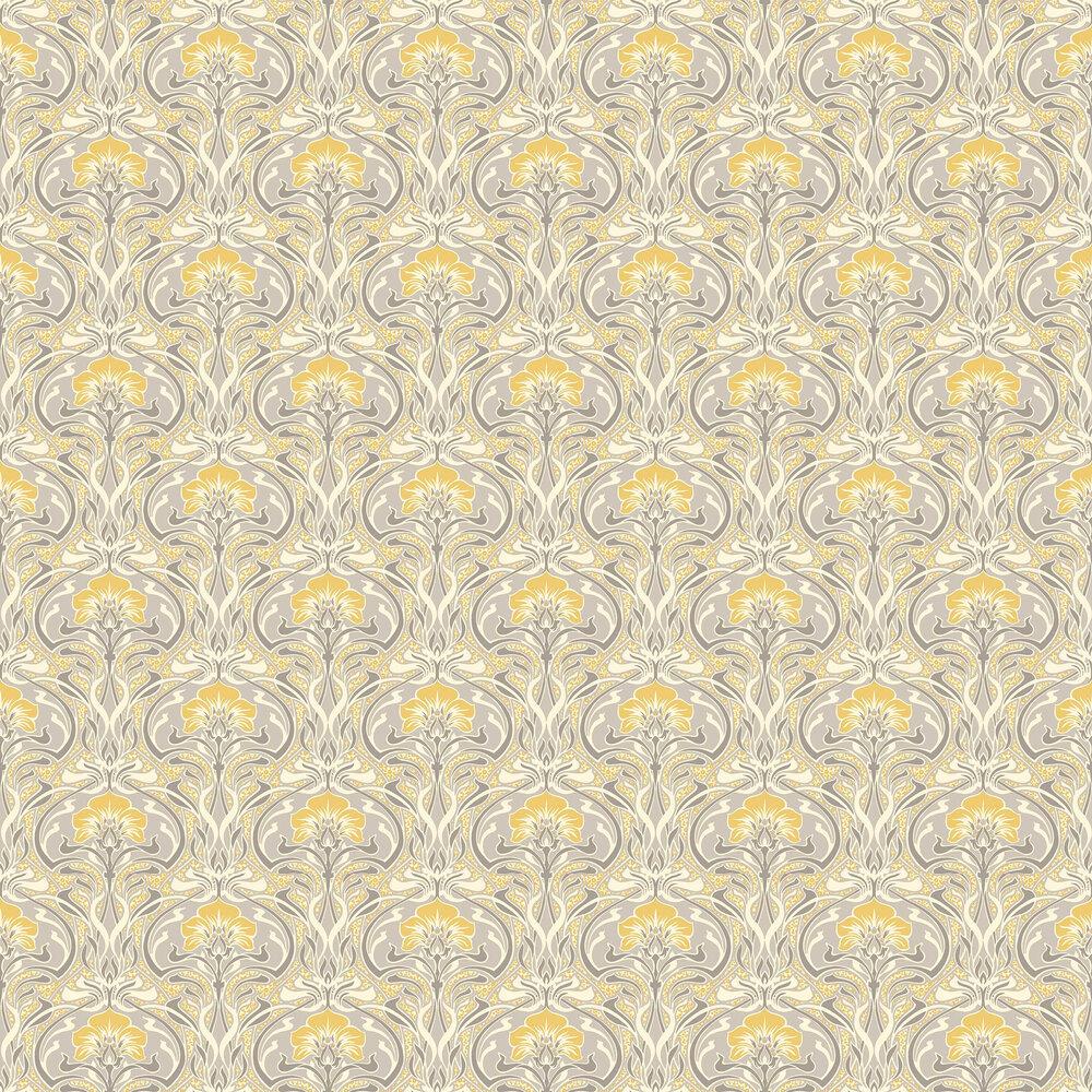 Flora Nouveau Wallpaper - Yellow - by Crown