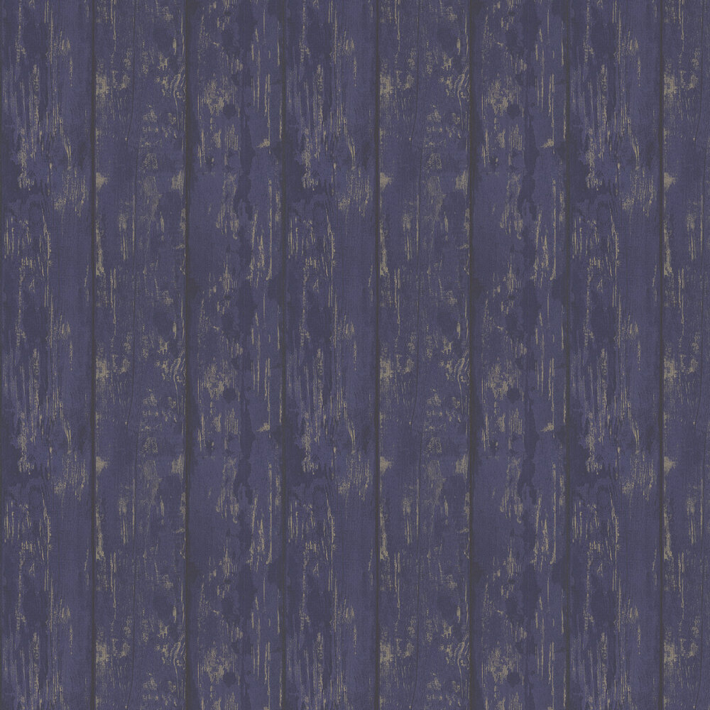 Metallic Washed Wood Wallpaper - Navy / Gold - by Arthouse