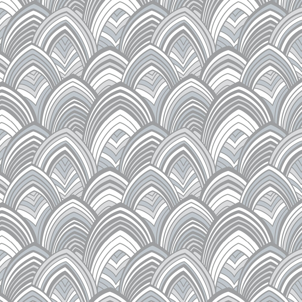 Cabarita Flock Wallpaper - Grey  - by A Street Prints