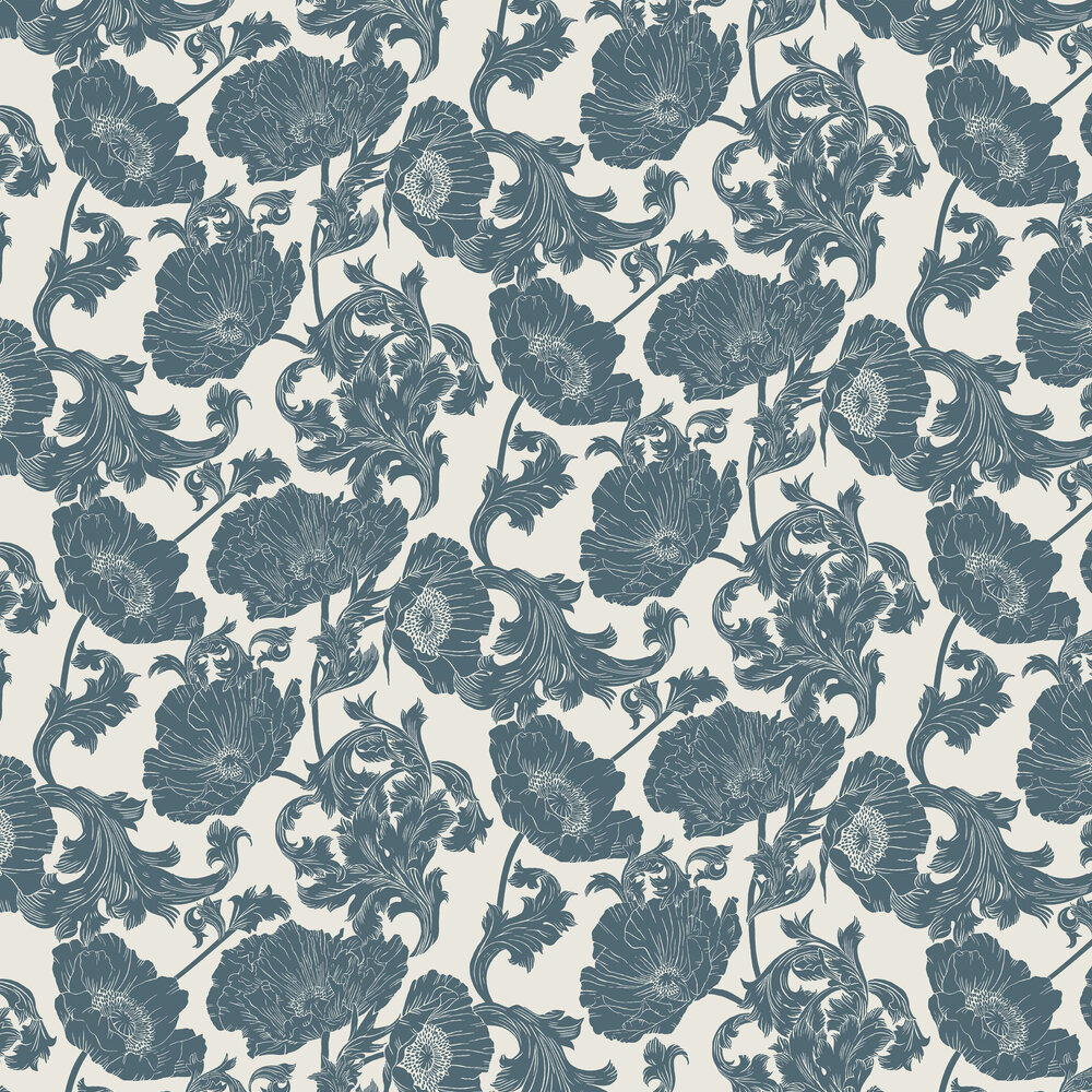 Papaver Wallpaper - White / Blue - by Galerie