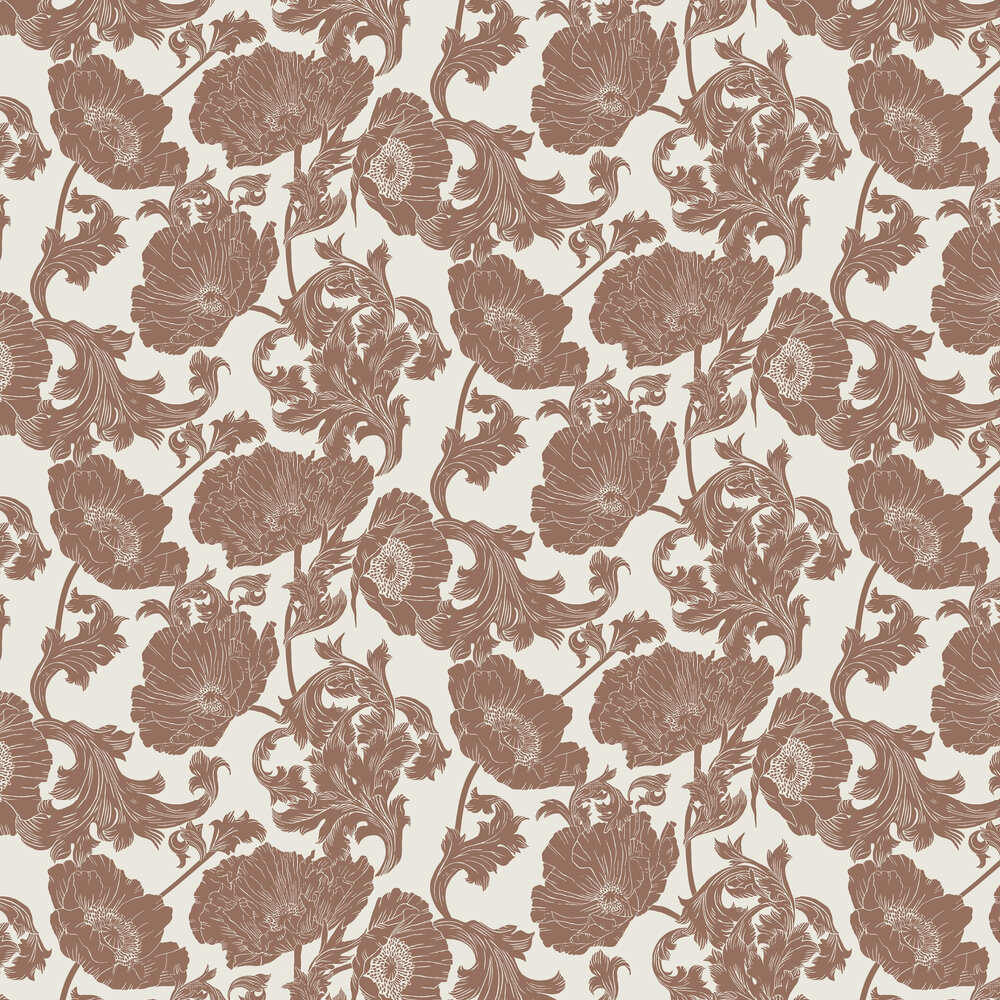 Papaver Wallpaper - White / Red - by Galerie