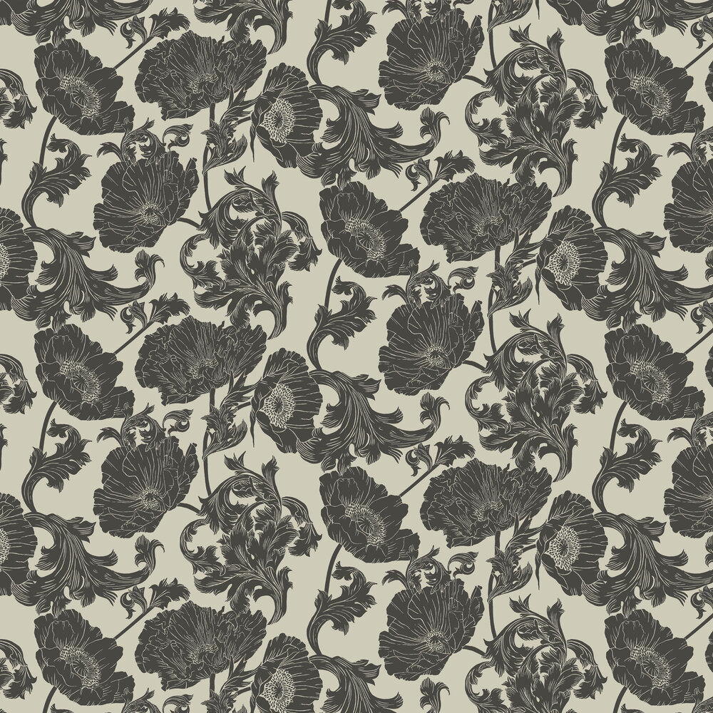Papaver Wallpaper - White / Black - by Galerie
