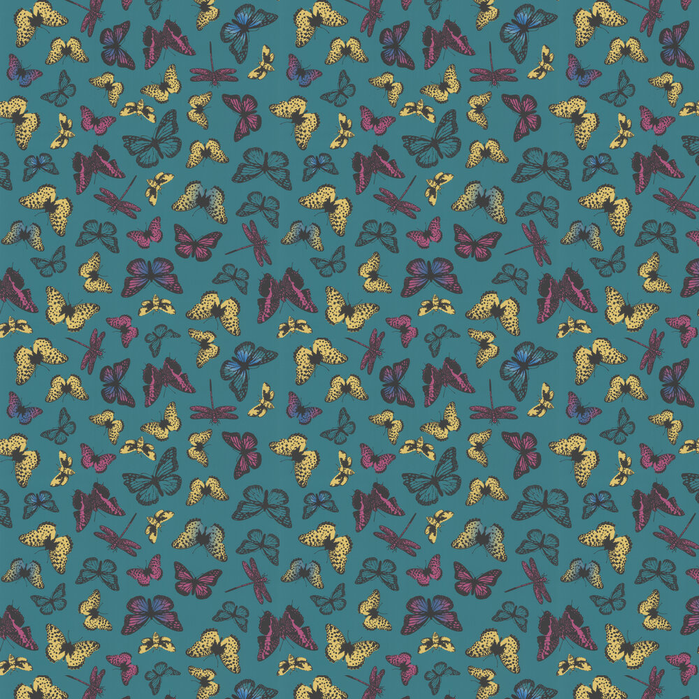 Butterfly  Wallpaper - Turquoise / Yellow - by Galerie