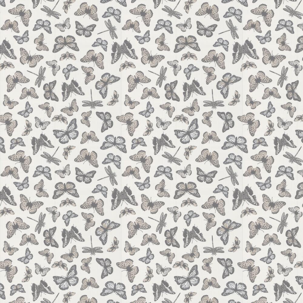 Butterfly Wallpaper - White / Beige - by Galerie