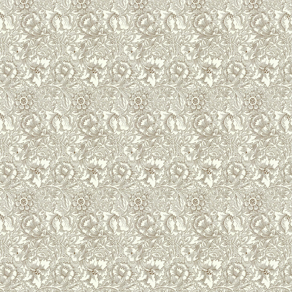 Poppy Wallpaper - Cream / Chocolate - by Morris