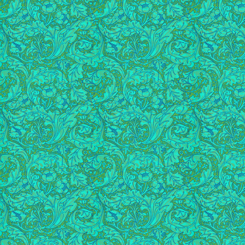Bachelors Button Wallpaper - Olive / Turquoise - by Morris