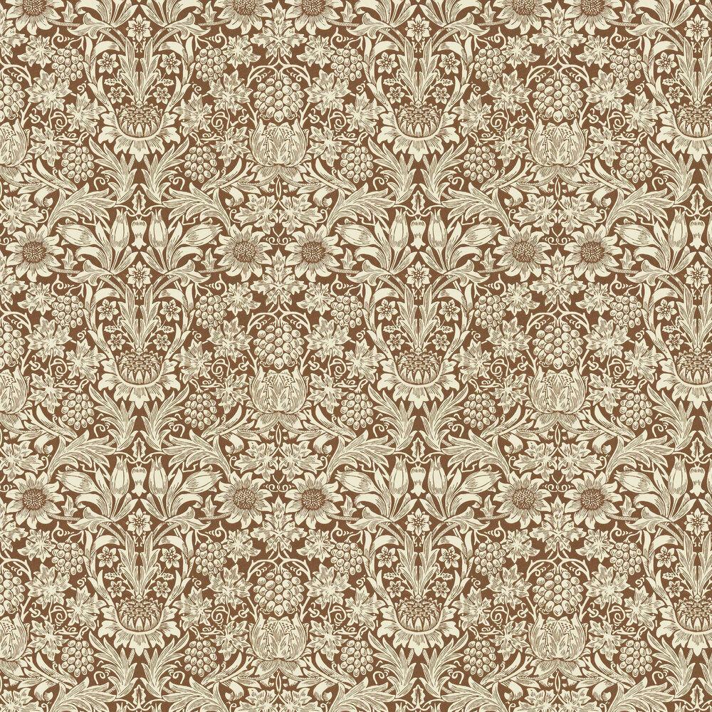Sunflower Wallpaper - Chocolate / Cream - by Morris