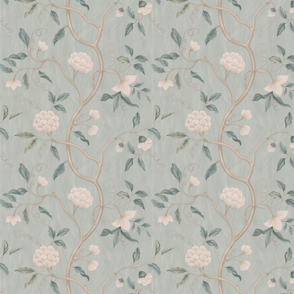 Snow Tree Wallpaper - Pale Aqua - by Colefax and Fowler
