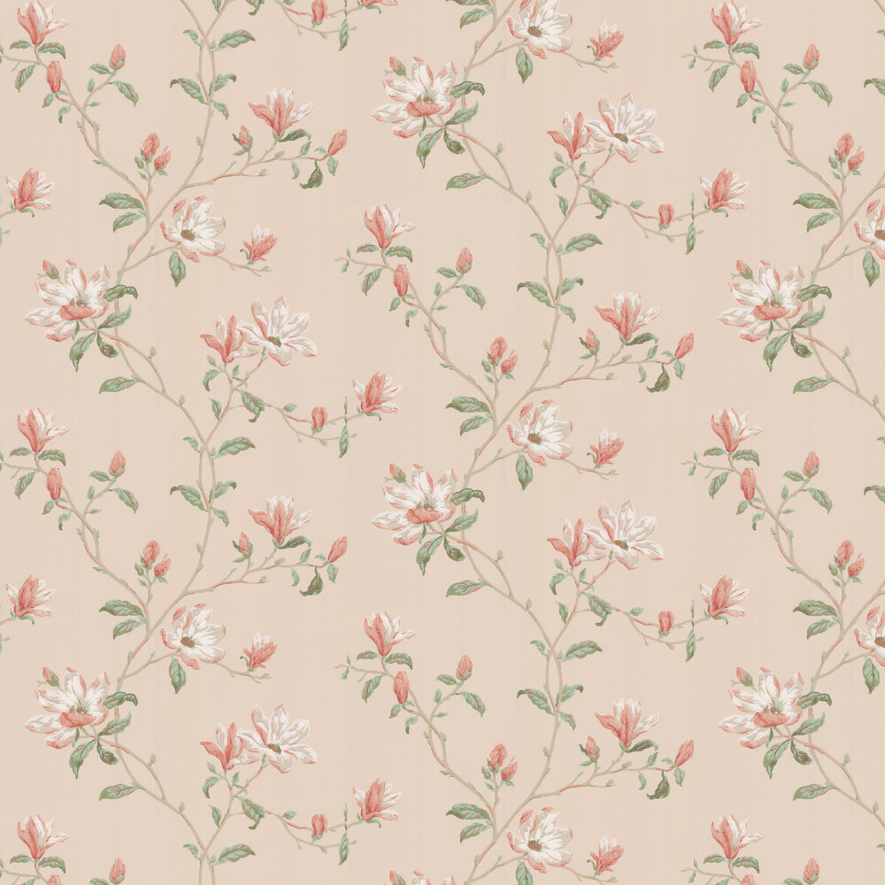 Marchwood Wallpaper - Coral / Sage - by Colefax and Fowler