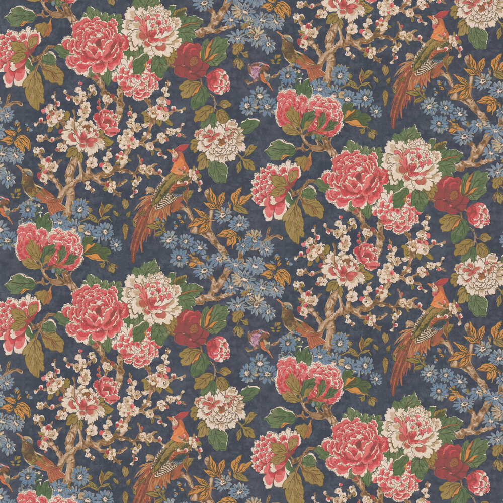 Jardine Wallpaper - Navy - by Colefax and Fowler