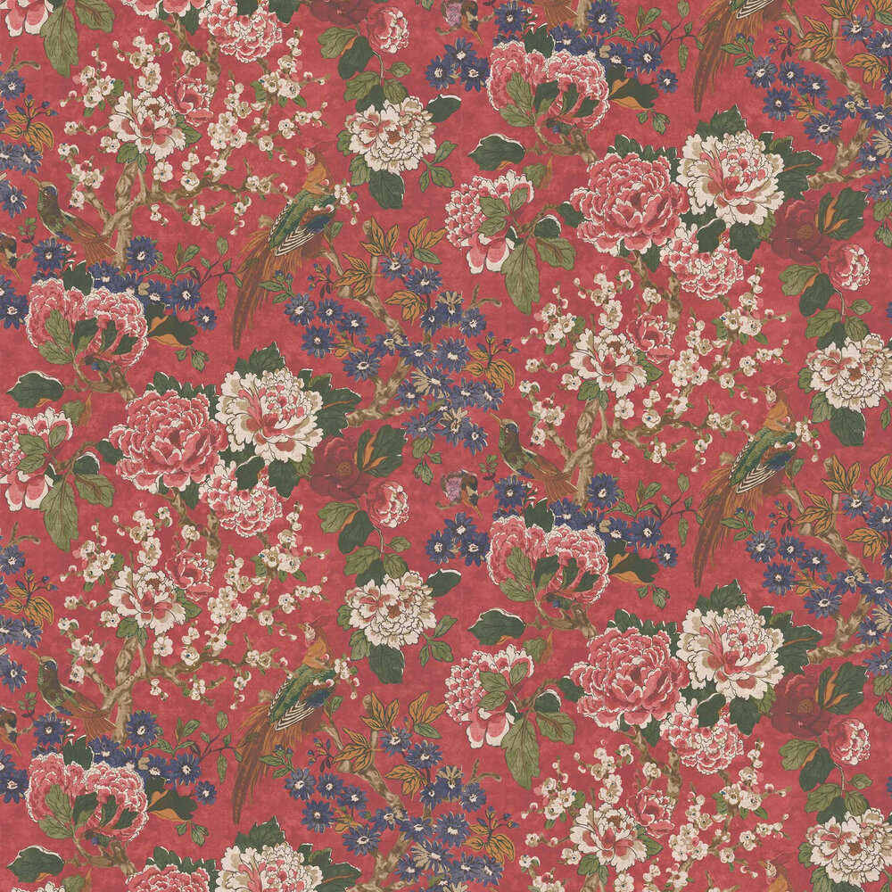 Jardine Wallpaper - Red - by Colefax and Fowler