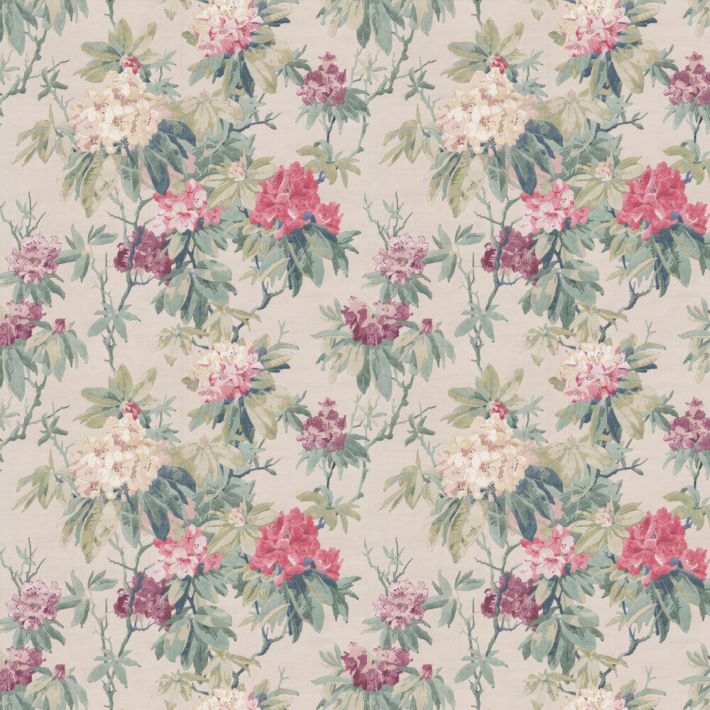 Mereworth Wallpaper - Pink / Forest - by Colefax and Fowler