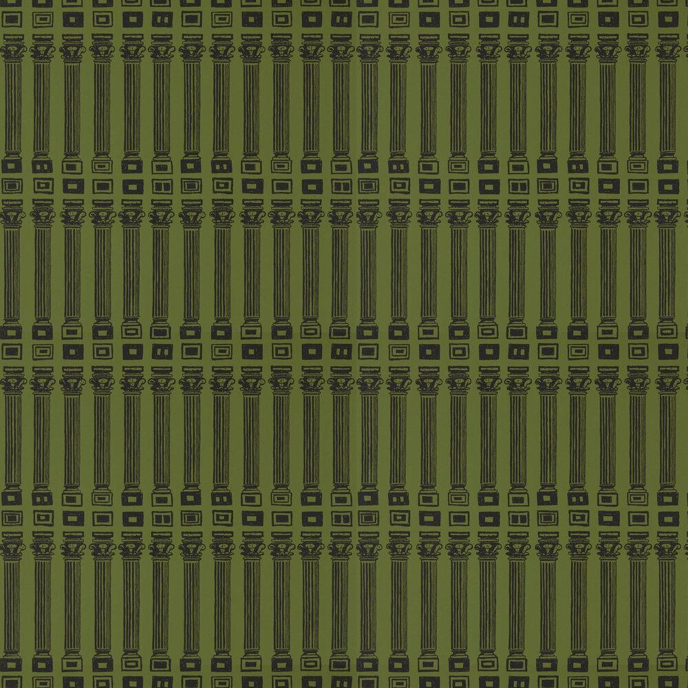 Columns Wallpaper - Olive / Bone Black - by Zoffany