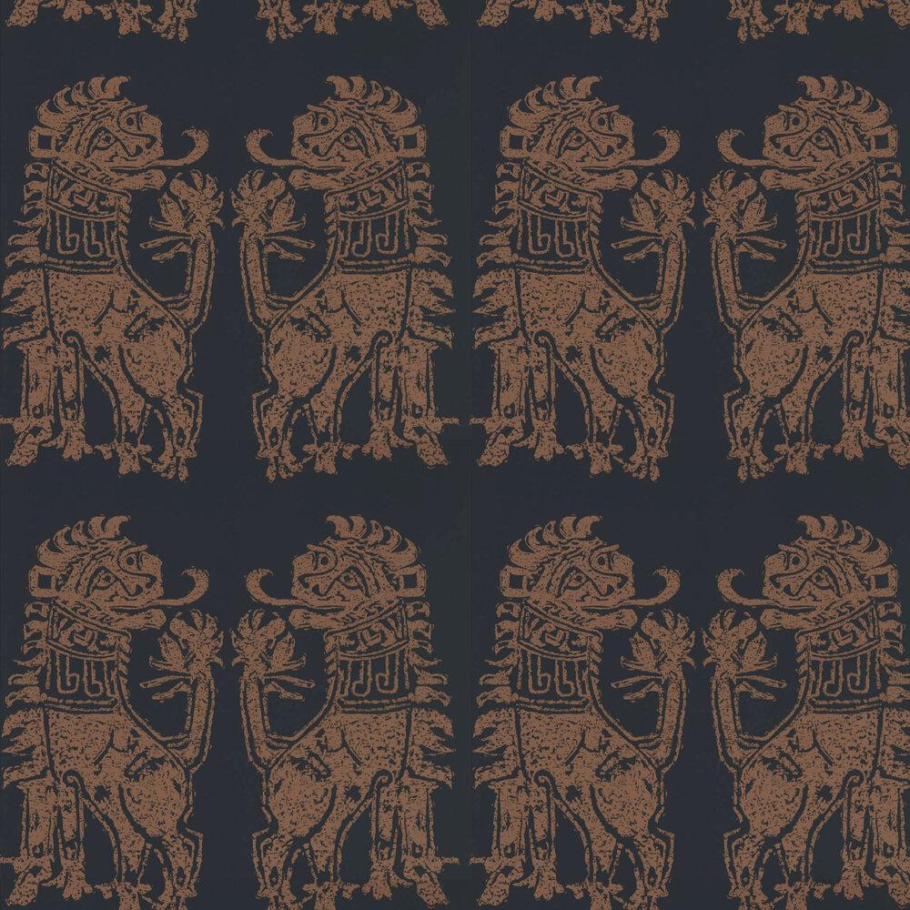 Sicilian Lion Wallpaper - Bone Black / Copper - by Zoffany