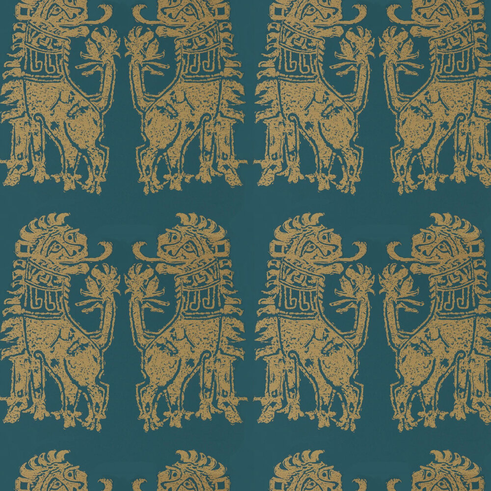 Sicilian Lion Wallpaper - Serpentine / Gold - by Zoffany