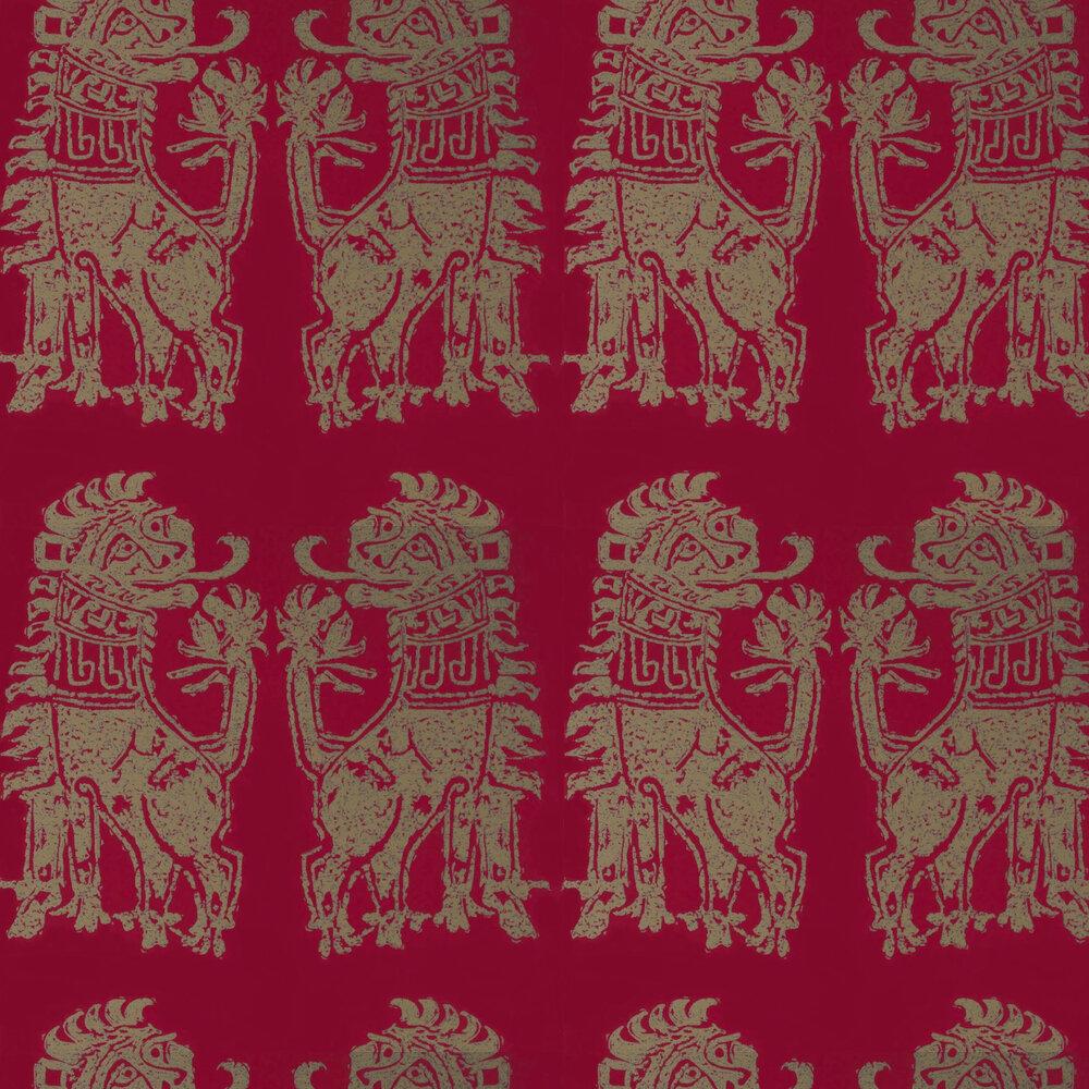 Sicilian Lion Wallpaper - Cinnabar / Bronze - by Zoffany