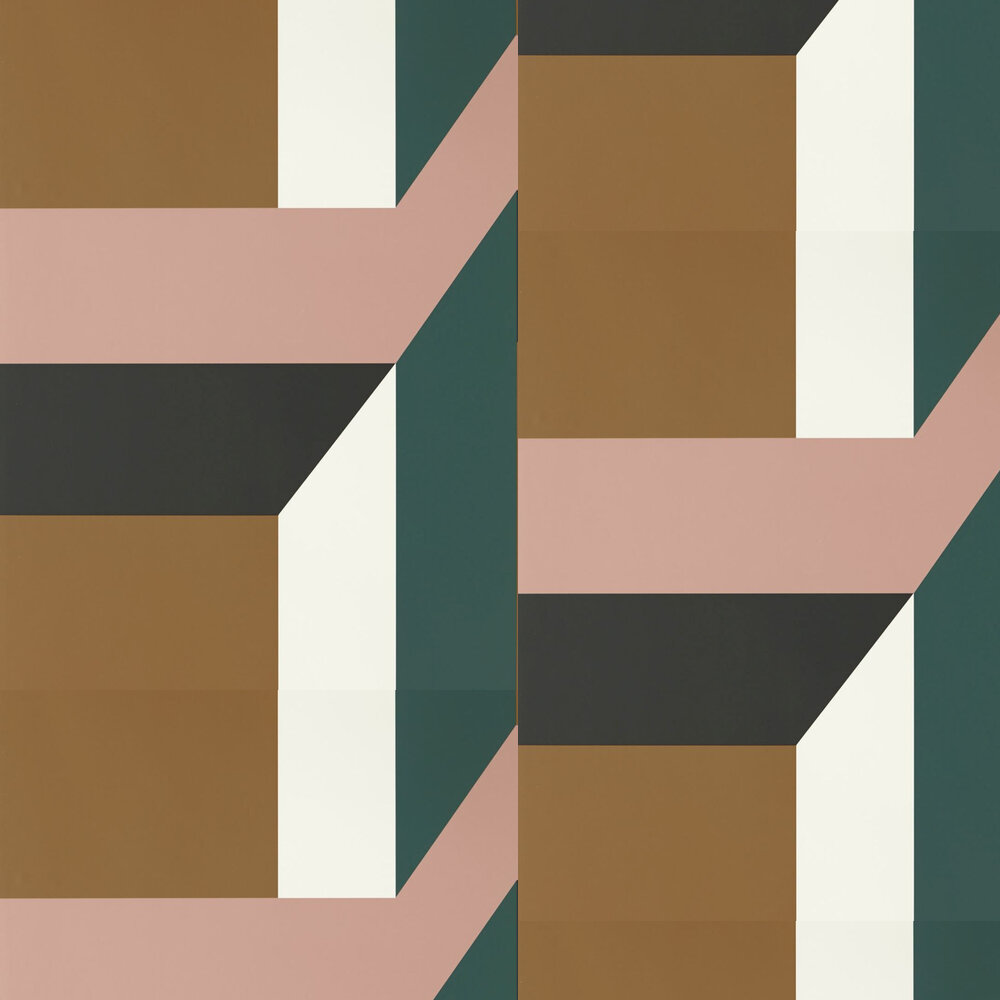 Impact Geo Wallpaper - Muddy Amber / Tuscan Pink / Huntsman Green - by Zoffany