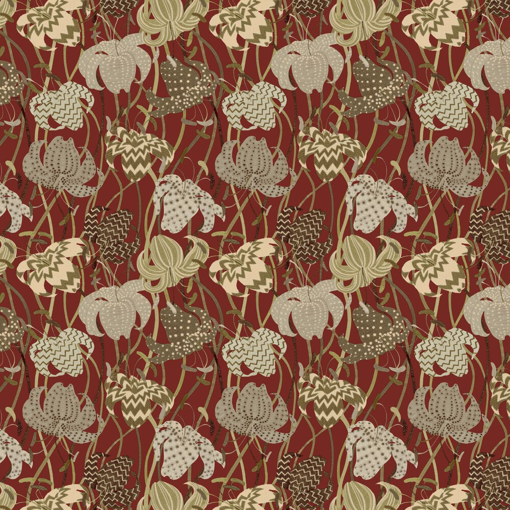 Lilium Wallpaper - Red - by Missoni Home