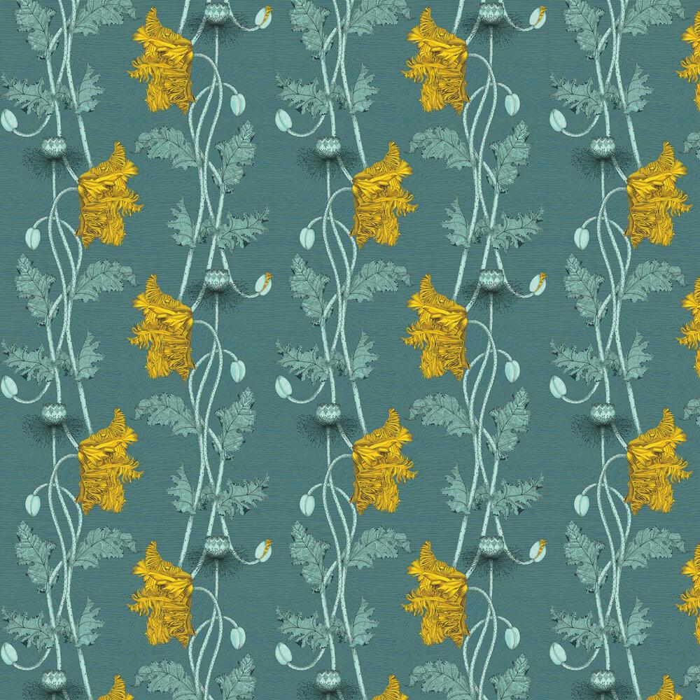 Poppy Wallpaper - Lemon - by Petronella Hall