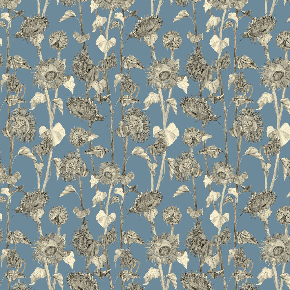 Sunflowers Wallpaper - Wedgewood - by Petronella Hall