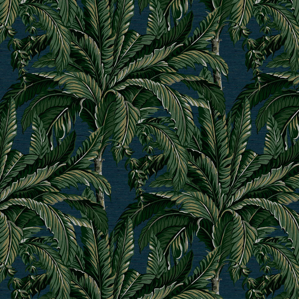 Daintree Palm Wallpaper - Midnight - by Graham & Brown