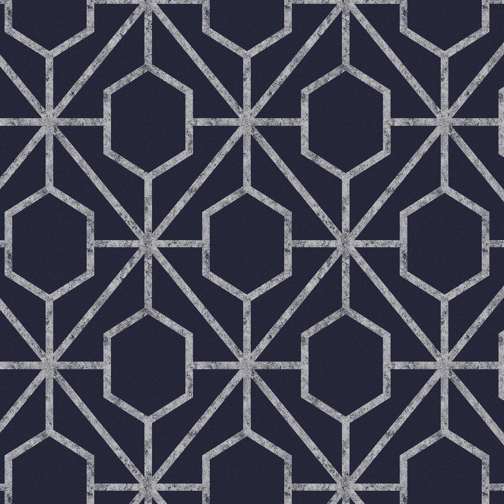 Rinku Wallpaper - Navy / Silver - by Graham & Brown
