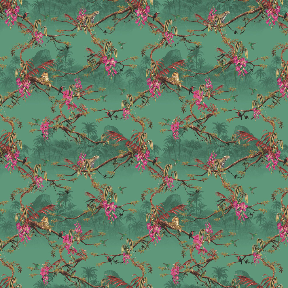 Hibiscus Wallpaper - Teal - by Ted Baker