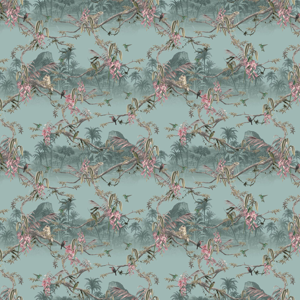 Hibiscus Wallpaper - Light Blue - by Ted Baker